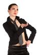 Girl in black suit posing.