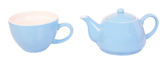 Blue tea cup and pot