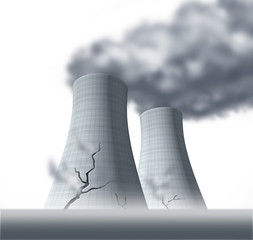 damaged cooling towers nuclear fallout
