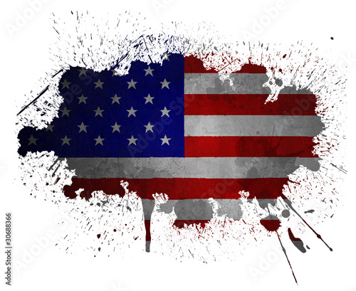 USA grunge flag paint splatter