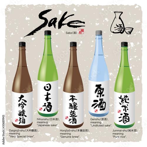 Anese Kanji Character Sake And Bottle 1