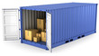Leinwanddruck Bild - Blue opened container with carton boxes inside