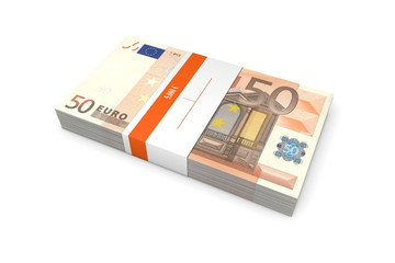 Packet of 50 Euro Notes with Bank Wrapper