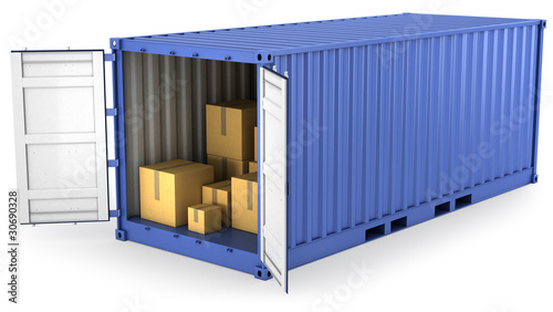 Leinwanddruck Bild Blue opened container with carton boxes inside