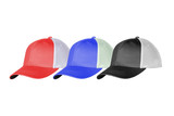 red, blue, black and white caps