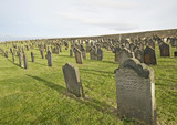 Old church cemetery with headstones poster