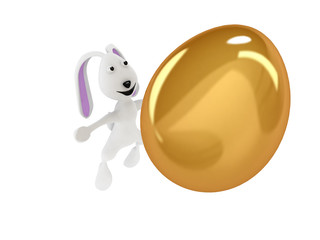 3D illustration of funny rabbit throwing a golden egg