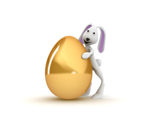 3D illustration of funny rabbit with golden egg