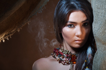 Lovely and passionate look of American Indian girl