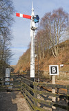 Old railway signal at junction poster