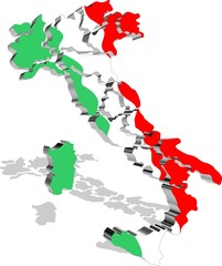Italia Mappa Tricolore 3D-Italy Map Flag-Vector