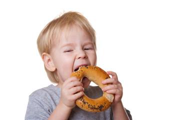 boy with a bagel