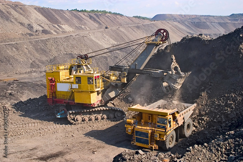 canvas print picture big yellow mining truck