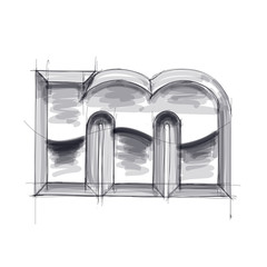 3d metal letters sketch - m. Eps10
