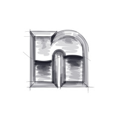 3d metal letters sketch - n. Eps10