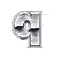 3d metal letters sketch - q. Eps10