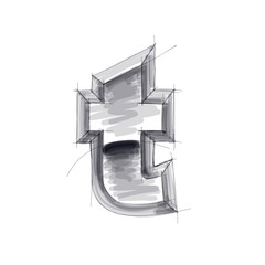 3d metal letters sketch - t. Eps10
