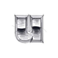 3d metal letters sketch - u. Eps10