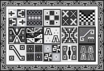 Vector set of ancient american indian patterns