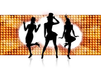 3 danseuses sur fond de lumière