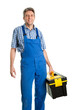 Confident service man with toolbox