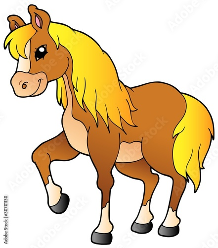 Staande foto Pony Cartoon walking horse