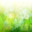 ecology concept: chemical formulas, digital wave & green boke