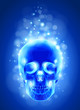 Skull x-ray, blue background & lights - technology vector