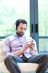 Man listening to music with MP3 player