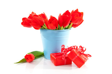 Bucket with tulips and red presents over white background