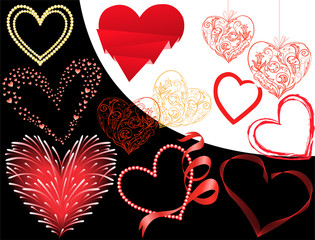 set of twelve different hearts on a black and white background