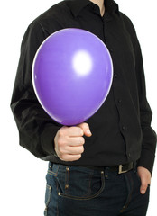 man holding baloonn isolated