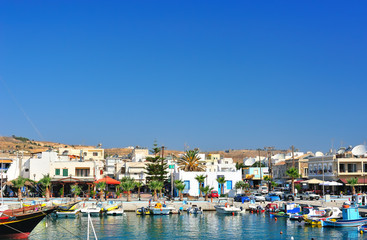 Harbor in a Greek town