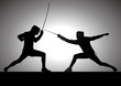 Silhouette illustration of two fencers - 30708956