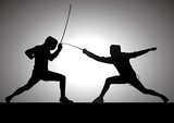 Silhouette illustration of two fencers