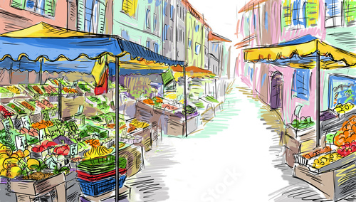 Fruits and vegetables shoping.Illustration