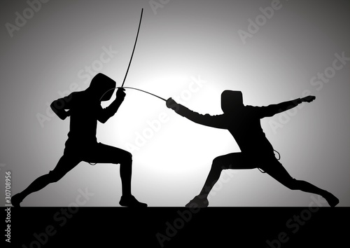 Fototapeta Silhouette illustration of two fencers