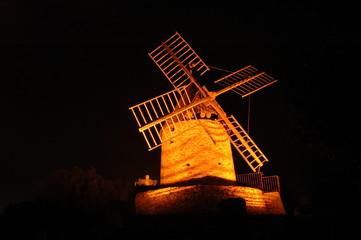Moulin à vent de Collioure, la nuit