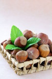 Hazelnut with a green leaf on a pink background