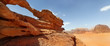 rock bridge and panoramic view of Wadi Rum desert, Jordan