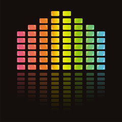 colorful musical equalizer over black background