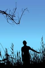 Man on nature, black silhouette