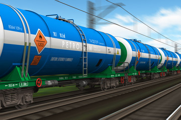 Freight train with petroleum tanker cars
