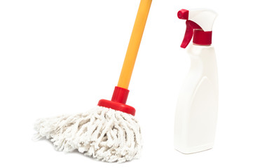Close up of mop and cleaner bottle isolated on white background
