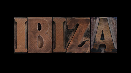 Ibiza in old wood type