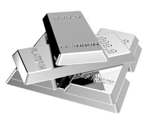 Platinum ingots isolated on white.