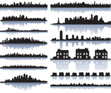 Fototapety set of vector detailed cities silhouette