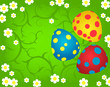 background with three Easter eggs