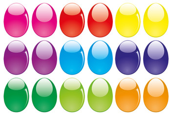 Decorative easter eggs isolsted on white, vector illustration