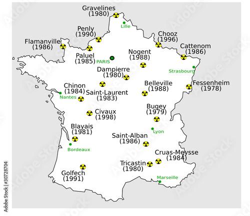 Cartes des centrales Nucléaire en Fancce